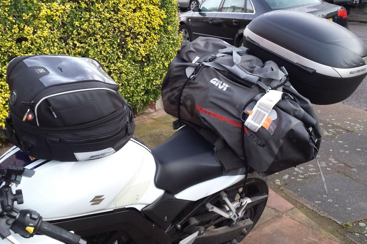 hight resolution of honda s goldwing has a luggage capacity of about 150 litres my sv650 has 153 with this 80 litre roll bag bag added to my top box and tank bag