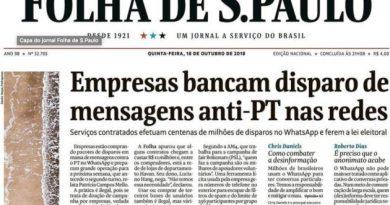 """Depois de um mês, Folha admite que não apresentou provas sobre """"campanha anti-PT pelo Whatsapp"""""""