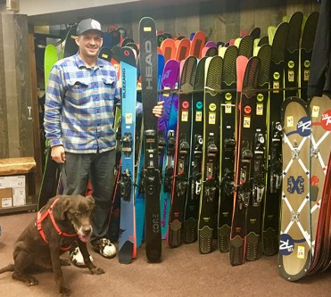 Vista Bahn Ski Rentals 2018-2019 Demo Fleet with owner, Sacha Gros and the original shop dog, Otter.
