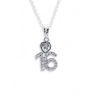 .925 Sterling Silver Sweet 16 Heart CZ Pendant Necklace