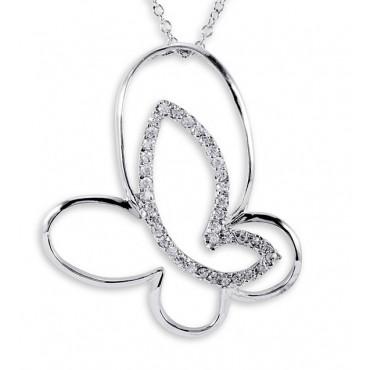 .925 Sterling Silver Open Butterfly CZ Pendant Necklace