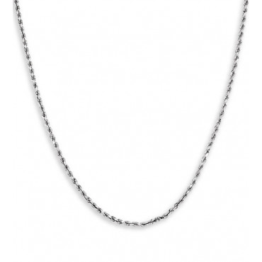 New Solid 14k White Gold Rope Twist Chain Necklace 2mm
