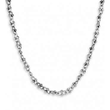Solid 14k White Gold Beaded Link Chain Necklace 6mm 20