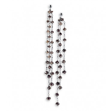 "14K White Gold Chocolate Diamond Dangle 3.25"" Earrings"