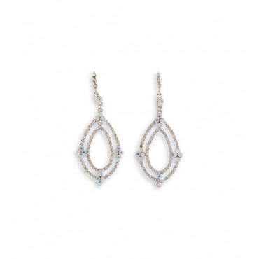 Teardrop Rainbow White CZ Silver Tone Dangle Earrings