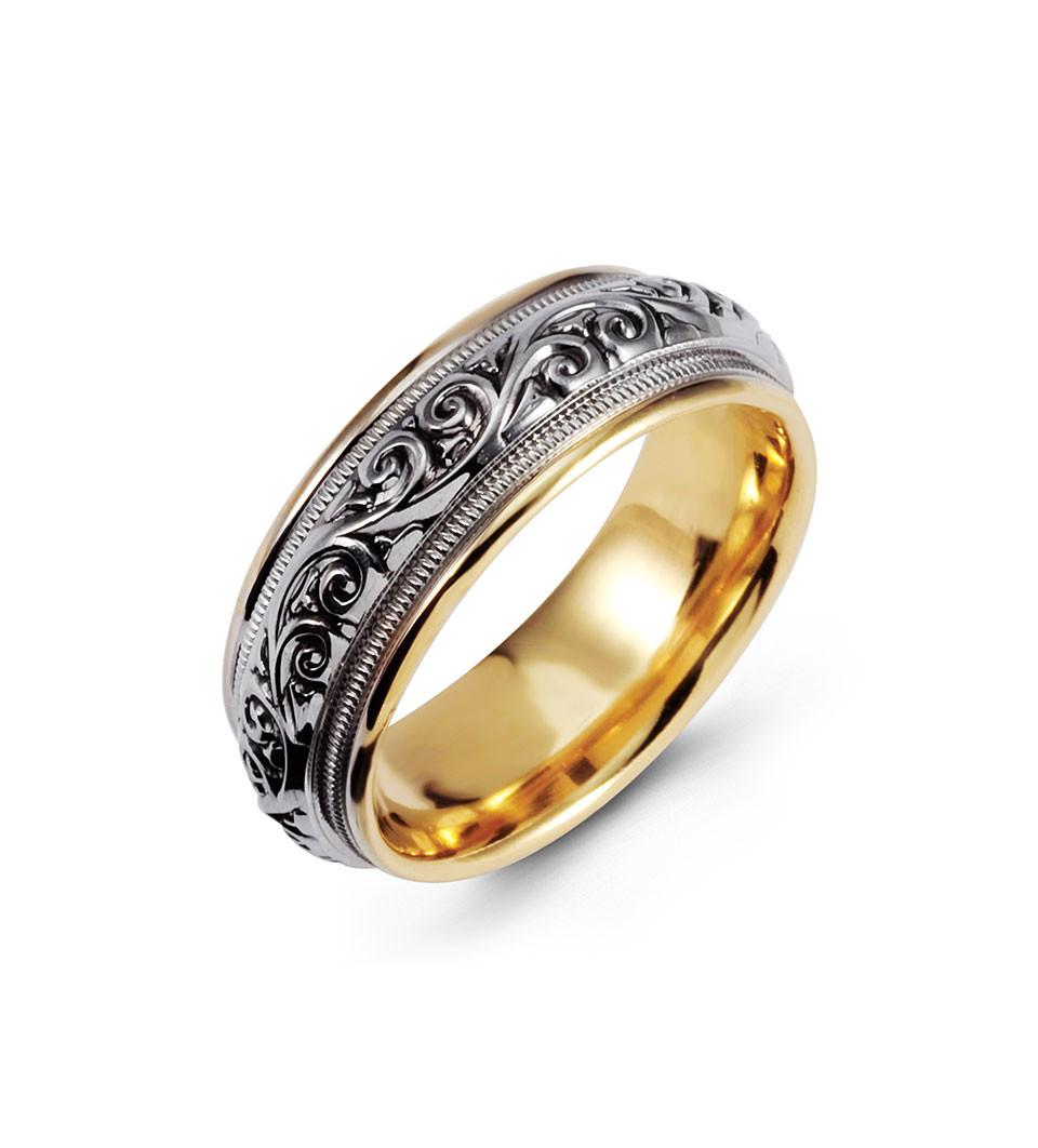 Milgrain Scroll 14k Yellow White Gold Wedding Band