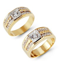 14k White Yellow Gold Channel Round CZ Wedding Ring Set ...