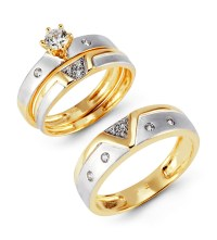 Two Tone 14k Gold CZ Cluster Solitaire Wedding Ring Set ...