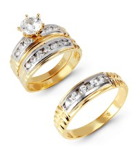 14k White Yellow Gold Round Cubic Zirconia Wedding Set ...