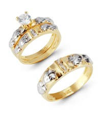 14k Yellow White Gold Leaves Round CZ Wedding Ring Set