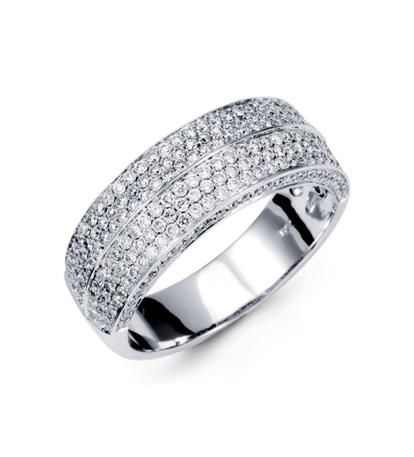 18k White Gold Hand Wide Band Diamond Ring - Rings