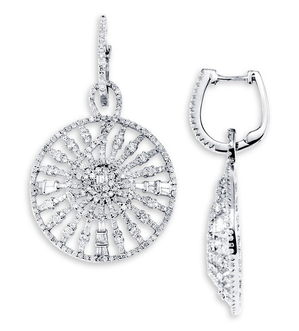 18K White Gold Dangle Round Baguette Diamond Earrings