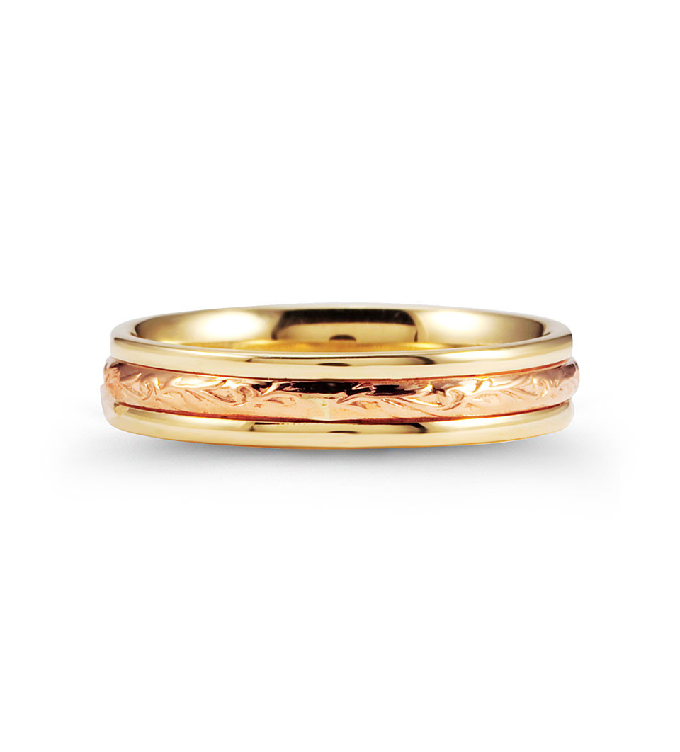 Scrolled Unique 14k Rose Yellow Gold Wedding Ring Band
