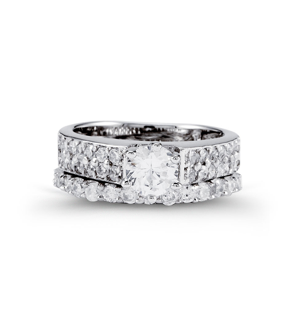 New 925 Silver Double Row CZ Engagement Ring Band Set  Cubic Zirconia Rings  Rings