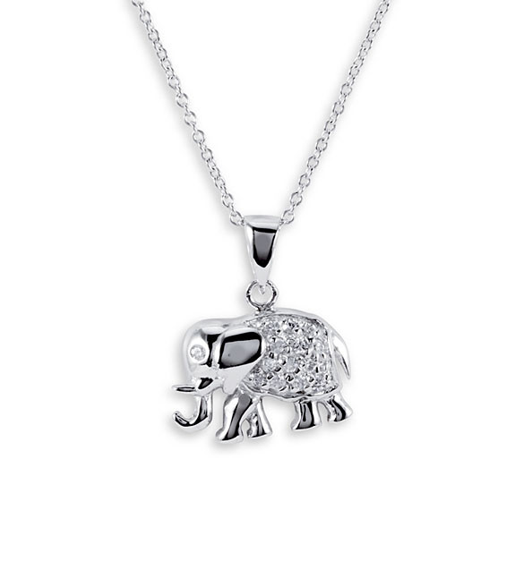 Lucky 925 Sterling Silver Elephant CZ Pendant Necklace