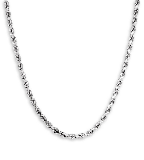 New 14k White Gold Twisted Rope Chain Necklace 4mm 22