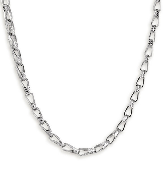 New 14k White Gold Bullet Chain Link Necklace 4.7mm