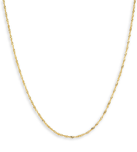 14k Yellow Gold Twist Singapore Chain Ankle Bracelet