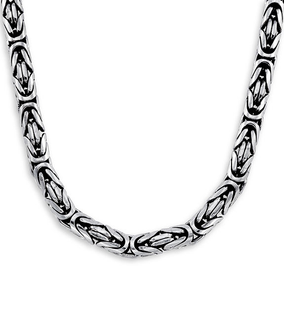Solid .925 Sterling Silver Bali Byzantine Necklace