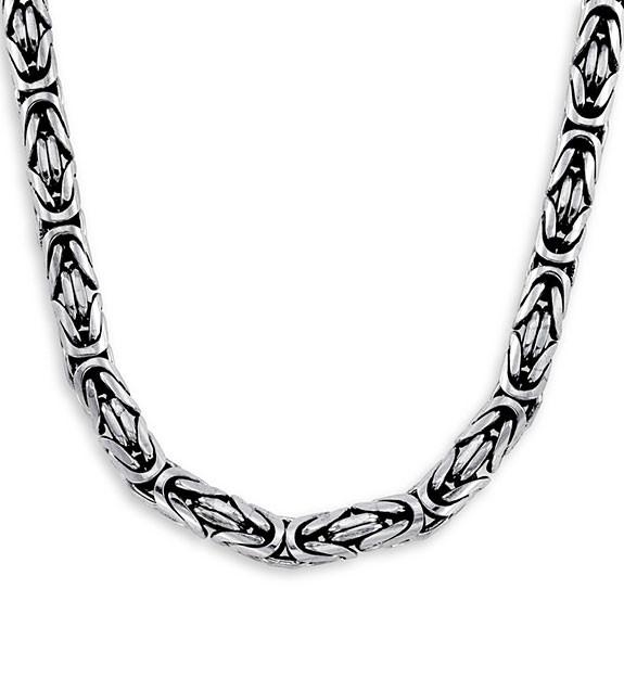 .925 Sterling Silver Byzantine Bali Fashion Necklace