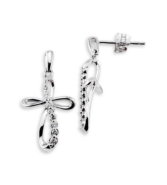 10k White Gold 0.22 Ct Round Diamond Cross Earrings