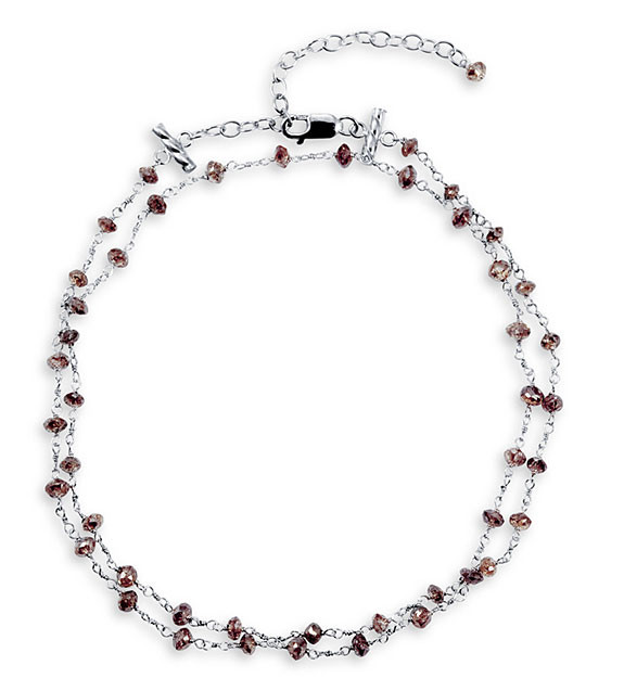"14k White Gold 7.20ct Chocolate Diamond 16"" Necklace"