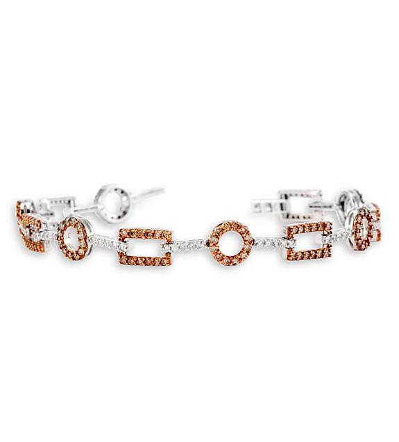14k White Gold Champagne Diamond Circle Square Bracelet