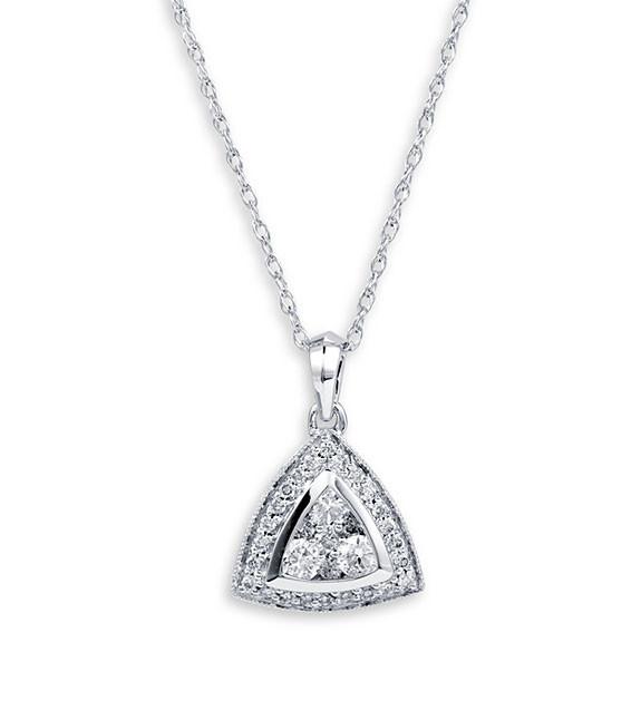 14K White Gold Round Diamond Triangle Pendant Necklace