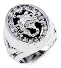 Mens 14k White Gold Black Onyx Round CZ Scorpion Ring ...