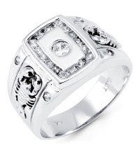 Mens Solid 14k White Gold Round CZ Scorpion Band Ring