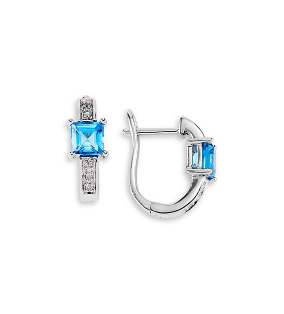 New 10k White Gold Blue Topaz Diamond Hoops Earrings