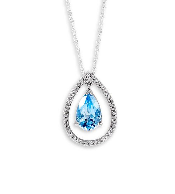 10k White Gold Pear Blue Topaz Diamond Pendant Necklace