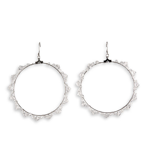 Clear Stone Silver Tone Polished Fashion Round Earrings