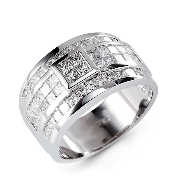 Mens 14k White Gold 300 Ct Princess Diamond Ring Band