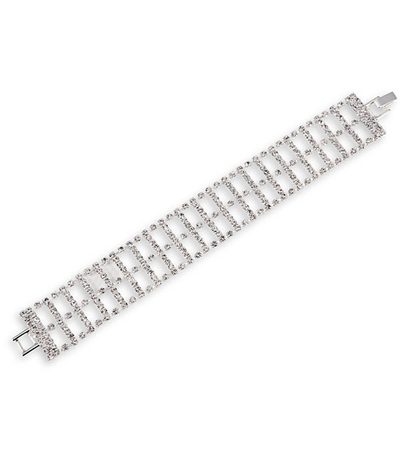 Round White CZ Wide Link Polished Silver Tone Bracelet