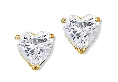14k Yellow Gold Heart Shape CZ Solitaire Stud Earrings
