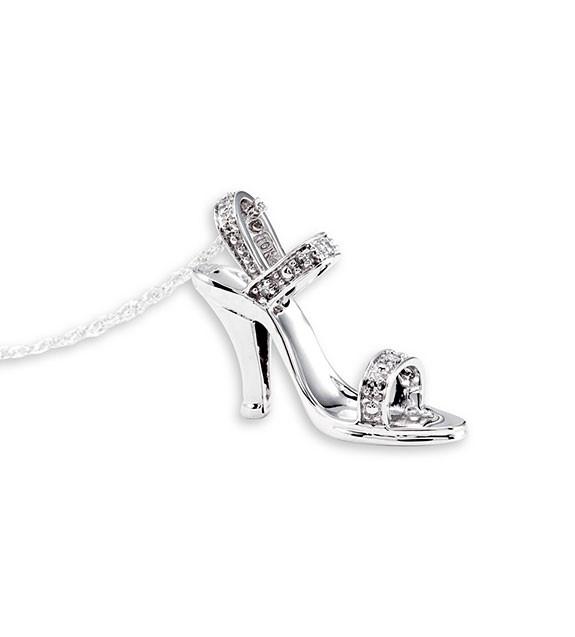 10k White Gold Diamond High Heel Shoe Pendant Necklace