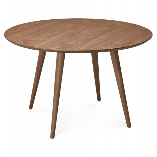 pretty round wooden table walnut color janet