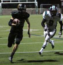 MVHS RB Jaeson Juarez charges towards the end zone.