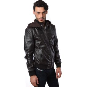 Black Leather Jacket On Model