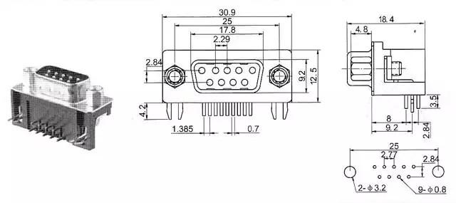 Conector DB9 Hembra Para PCB