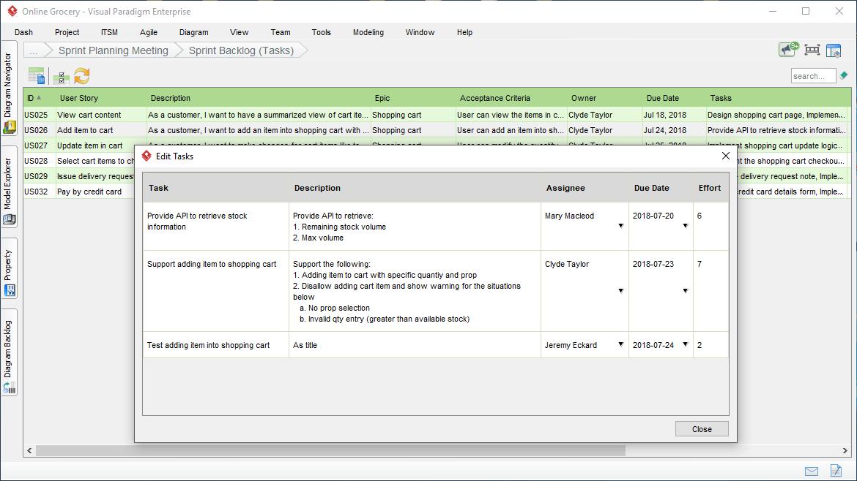 管理用户故事任务