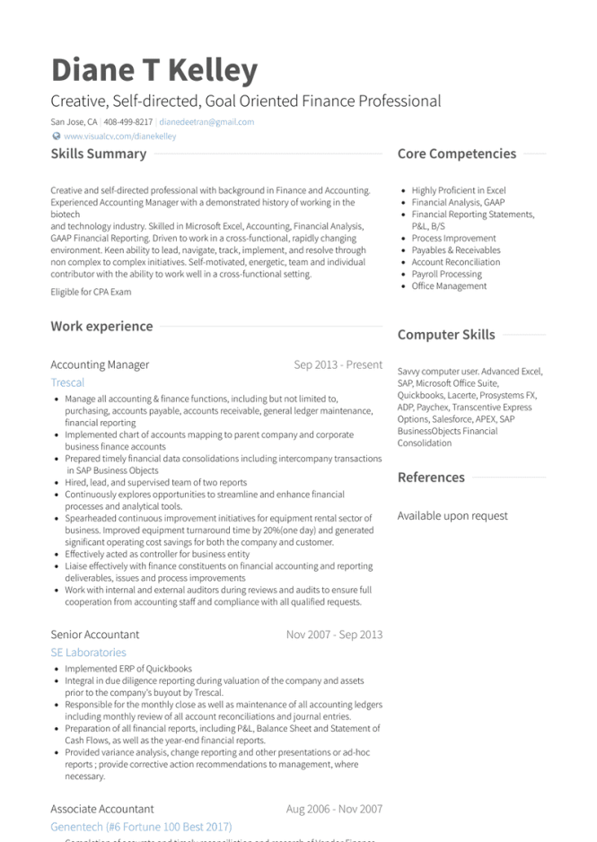 Accounting Manager Resume Samples And