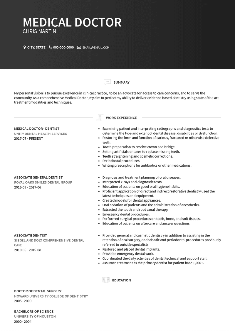 Must have excellent verbal and written communication skills. Medical Doctor Resume Samples And Templates Visualcv