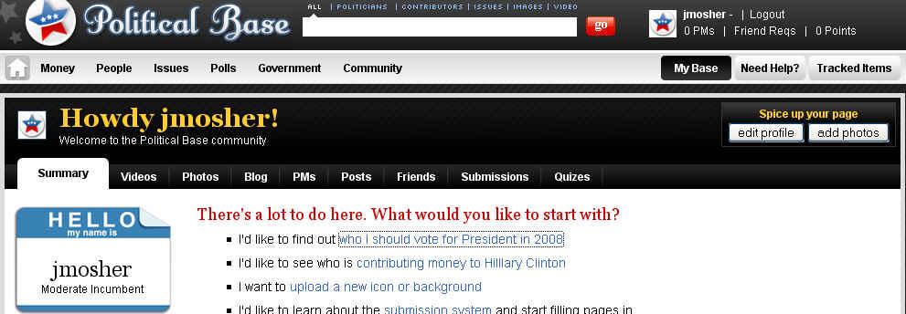 Screen Shot from www.PoliticalBase.com