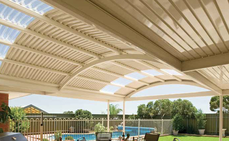 Curved Roof Verandah with Poly Carbonate Infills