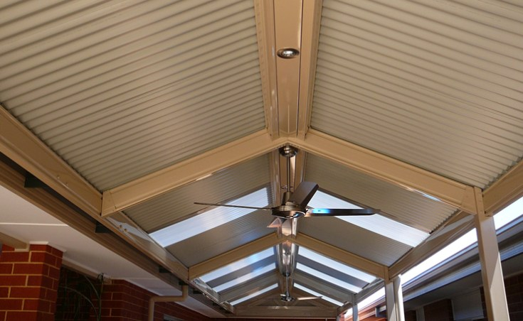 Gabled Roof Verandah with Down Lights and Ceiling Fan