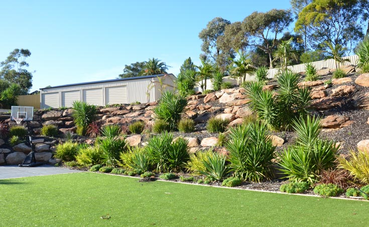 Landscaping Ideas For Sloping Gardens would love to rip out my tiered backyard and replace it with this slope garden idea Garden Landscaping Ideas For Sloping Gardens Adelaide