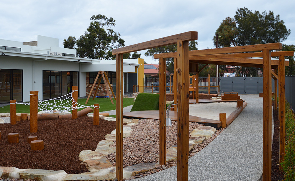 Child Care Centre Landscaping | Misting Arches
