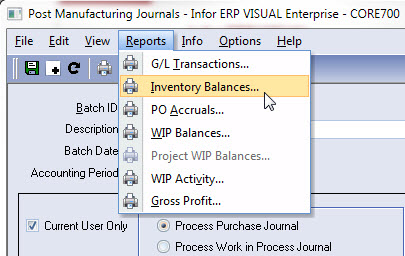 Infor VISUAL ERP - Inventory Balance Report